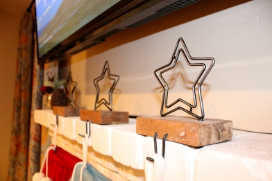 Close up of our adorable stocking hangers - from Crate & Barrel