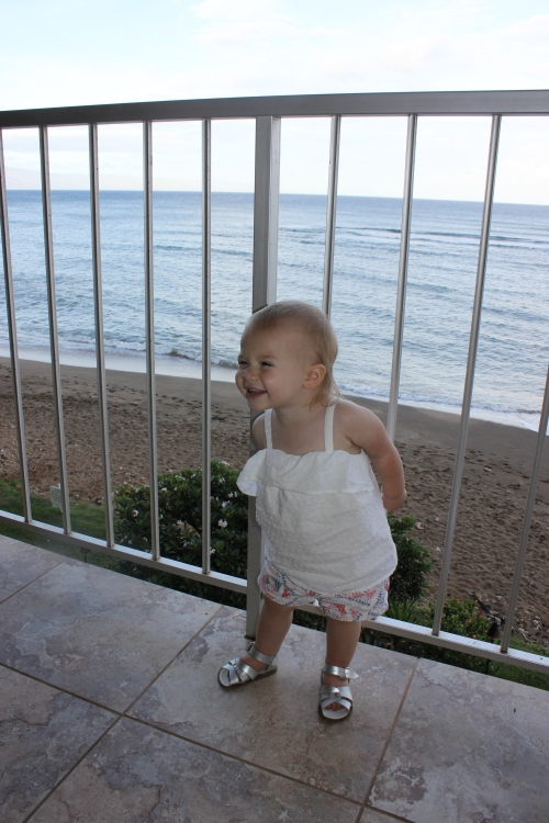Claire loving our view in Hawaii and smiling at Papa