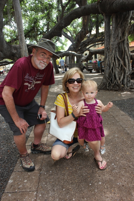 Nana, Papa and Claire in Banyan Tree Park